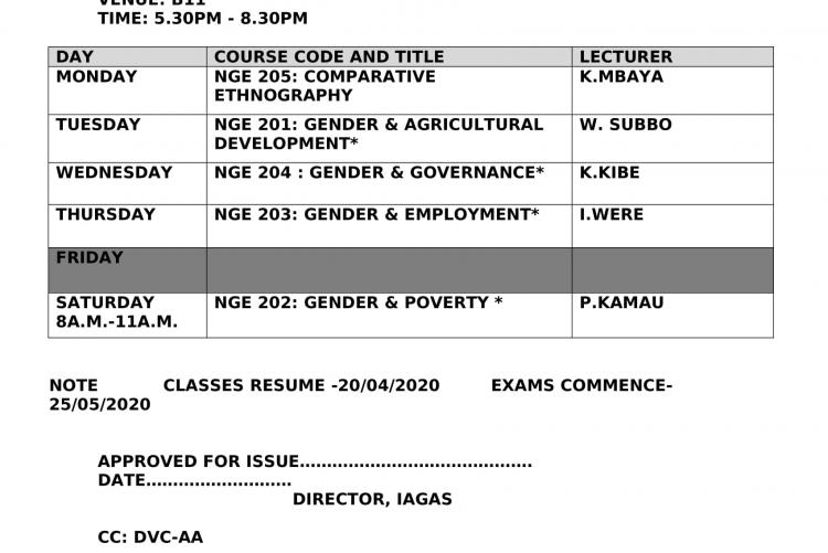 Timetable-BA Gender-2nd Year 1st Semester,-Jan  2020