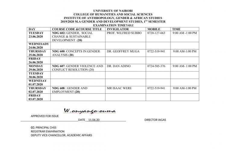 Timetable- MA GENDER-1ST SEM
