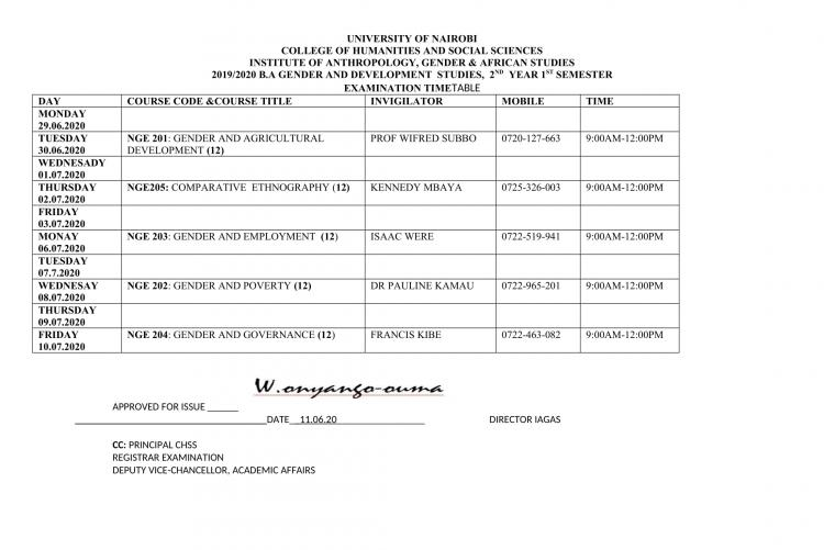 Timetable-B.A GENDER 2ND YEAR