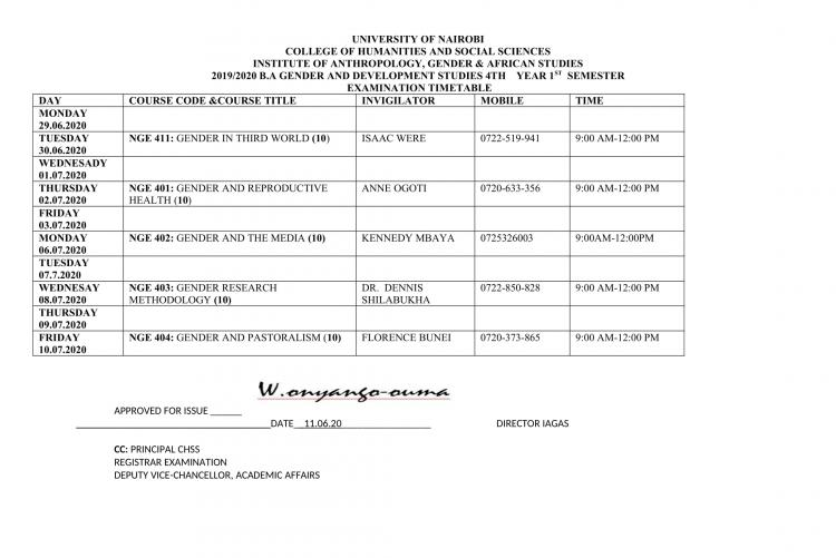 Timetable-B.A GENDER 4TH YEAR