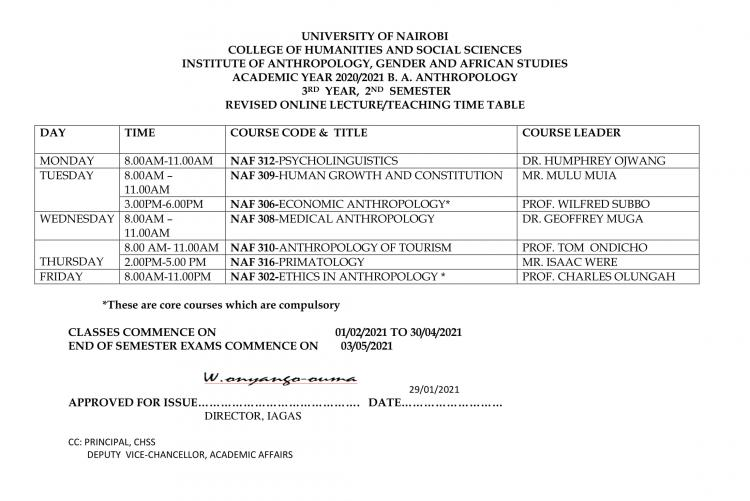 Teaching timetable-BA ANTHRO 3.2 REVISED