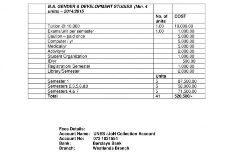 Fees structure B.A Gender and Development Studies